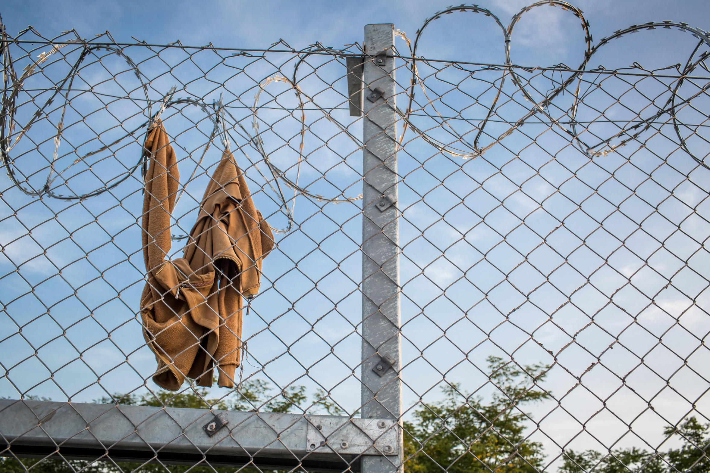 Clothes on razor wire fence   Green European Foundation